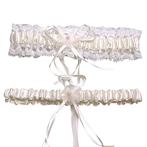 CLOCOLOR Women's Set of 2 Piece Satin Lace Bridal Wedding Garters with Bowknot Ivory