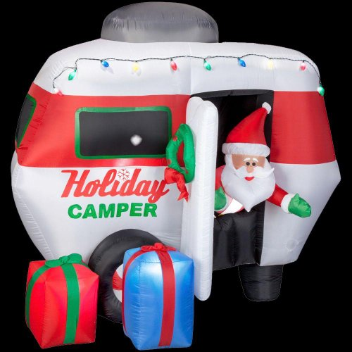 Christmas Decoration Lawn Yard Inflatable Airblown Animated Santa In Camper 6.5' Tall front-516124