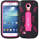 Fosmon HYBO-DT Series Detachable Hybrid Dual Layer Heavy Duty Case Cover with Stand for Samsung Galaxy S4 Mini GT-I9190 / GT-I9195 - Fosmon Retail Packaging (Hot Pink)