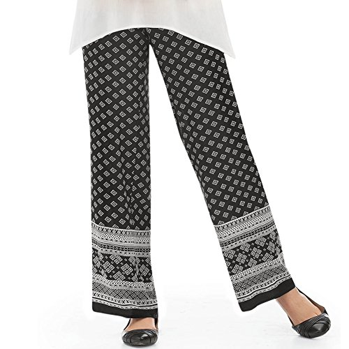 Black and White Print Wide-Leg Pants, Black And White, Medium (Wide Leg Pants Women compare prices)