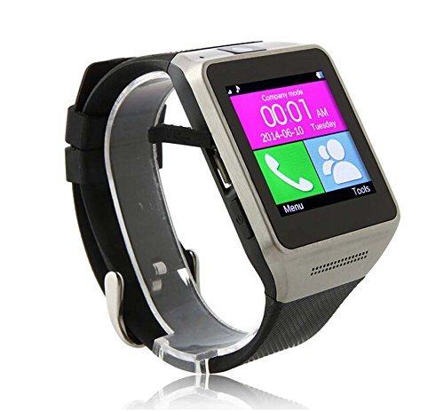 Luxsure® Touch Screen Smartwatch Inserted Card Smart Phone Watch Soft Silicone Strap Wristwatches Bluetooth Sync IOS Android iPhone Samsung HTC LG (GV08-Black)