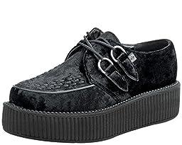T.U.K. Original Footwear Viva Mondo Vegan Creeper,Black Crushed Velvet,US 13 M