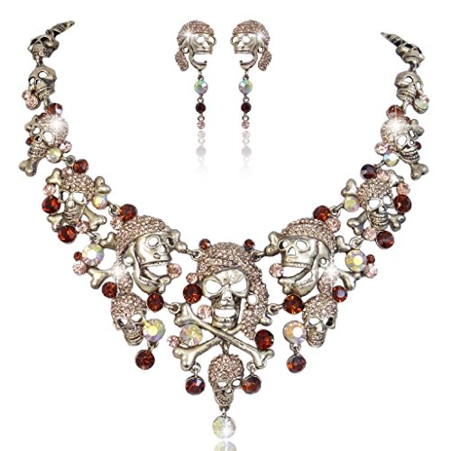 EVER FAITH® Vintage Style Cross Pirate Skull Necklace Earrings Set Brown Austrian Crystal