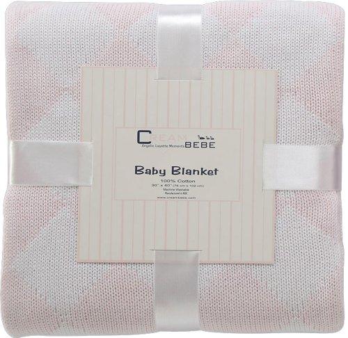 Elegant Knit Argyle Baby Blanket (Pink)