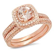 buy 14K Rose Gold Round Morganite & White Diamond Bridal Split Shank Halo Engagement Ring Set (Size 6)