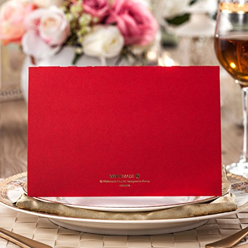 Wishmade 100x Elegant Red Laser Cut Wedding Invitation Cards Kits with Lace Bow Paper Cardstock for Bridal Shower Engagement Birthday Baby Shower Quinceanera(set of 100pcs) 4