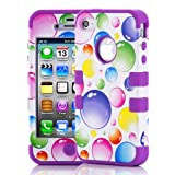 myLife (TM) Purple - Colorful Bubbles Series (3 Piece Protective) Hard and Soft Case for the iPhone 4/4S (4G)... by myLife Brand Products