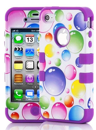 "myLife (TM) Purple - Colorful Bubbles Series (3 Piece Protective) Hard and Soft Case for the iPhone 4/4S (4G) 4th Generation Touch Phone (Fitted Front and Back Solid Cover Case + Internal Silicone Gel Rubberized Tough Armor Skin + Lifetime Warranty + Sealed Inside myLife Authorized Packaging) ""ADDITIONAL DETAILS: This three layer iphone 4 armor skin gel fit together case is made of grip easy  at Amazon.com"