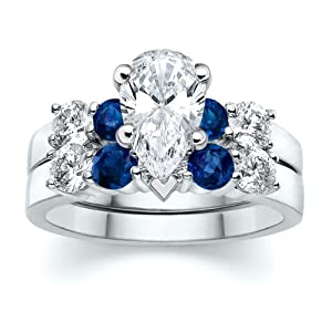3.50 ct Pear Diamond W Round Blue Sapphire Ring Set