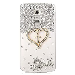 LG G3 Stylus D690 Bling Case - Fairy Art Luxury 3D Sparkle Series Cross Heart LOVE Crystal Design Back Cover with Soft Wallet Purse Red Cloth Pouch - Clear