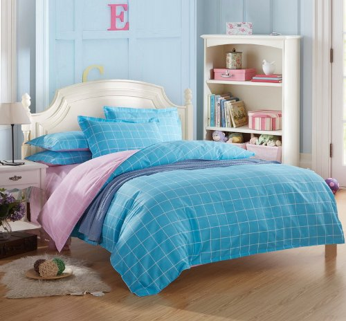 Modern Grids Blue And Pink Teen Bedding College Dorm Bedding front-136194