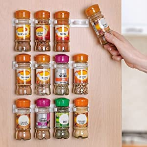 Home-it Spice Rack Storage organizer Wall Rack 12 Cabinet Door Spice Clips by Home-it