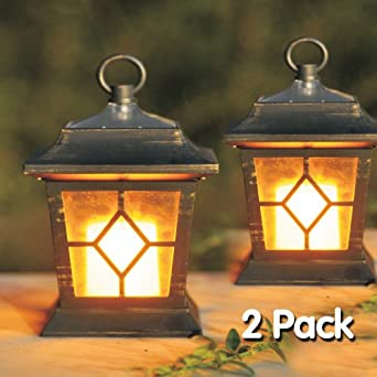 2pc Solar Flickering Candle Coach Lantern Outdoor Kitchen Home