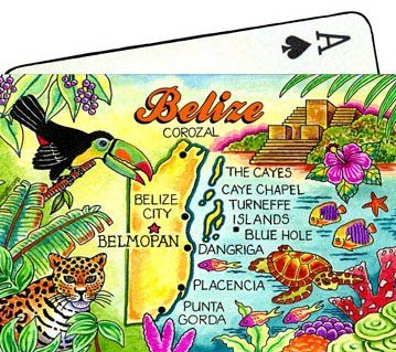 Belize Central America Map Collectible Souvenir Playing Cards