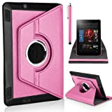 Mobile-Heaven Stylish 360 Degree Rotating Baby Pink Premium PU Leather Smart Stand Multi Function Chrome Flip Pouch Case Cover For Amazon Kindle Fire HD 7