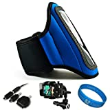 Blue SumacLife Moisture Resistant Neoprene Hardcore Workout Armband for Nokia Lumia 900 / Nokia Lumia 910 / Nokia Lumia 610 / Nokia Lumia 710 / Nokia 808 PureView / Nokia Asha 302 / Nokia Lumia 800 / Nokia 603 / Nokia 701 / Nokia N9 / Nokia E6 / Nokia X7 + Universal Windshield Phone Mount + SumacLife TM Wisdom Courage Wristband