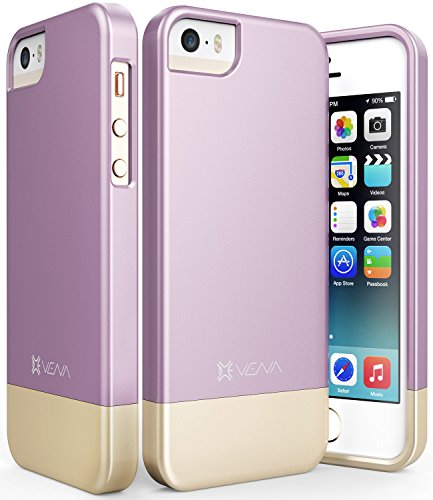 iPhone SE Case, Vena [iSlide][Two-Tone] Dock-Friendly Slim Fit Hard Case Cover for Apple iPhone SE / 5s / 5 (Lavender/Champagne Gold) (Pretty Iphone 5s Cas compare prices)