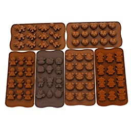 Zicome Nonstick Silicone Candy Chocolate Making Mold Ice Cube Tray Set of 6