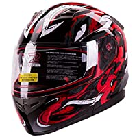 VIPER Modular Dual Visor Motorcycle / Snowmobile Helmet DOT Approved (IV2 Model #953) - RED (S) from IV2 Helmets