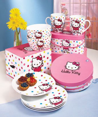 Hello Kitty Polka Dot Tabletop Gift Sets - Boxed - 12 Piece Luncheon Set