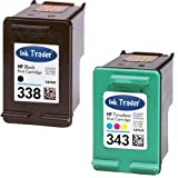 HP 338 Black & 343 Tri-Colour Remanufactured Printer Ink Cartridges For use with HP Deskjet 460c 460cb 460wbt 460wf 5740 5745 6520 6540 6540d 6620 6840 9800 9800d Printers by Ink Trader