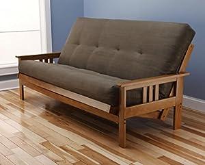 Amazon Andover Full Size Futon Sofa Bed Honey Oak Wood Frame Suede Innerspring Mattress