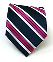 100% Silk Woven Navy and Fuschia Striped Tie