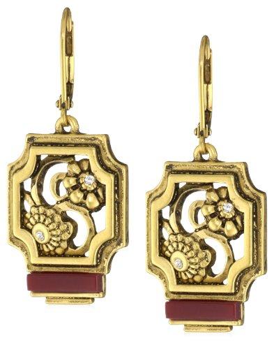T Tahari Gold Tone Ruby Resin Drop Earrings