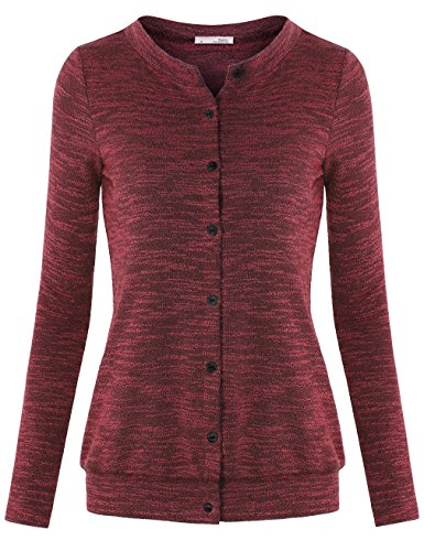 Boyfriend Cardigan,Messic Women's Long Sleeve Button Down Chunky Knitted Classic Cardigan Sweater,Wine,Large