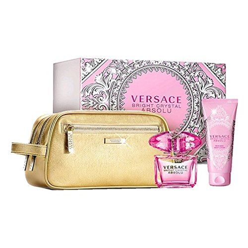 Versace Bright Crystal Absolu 3 pcs Gift Set by Versace 3.0 oz / 90 ml EDP Spray, 3.4 oz / 100 ml Bo..