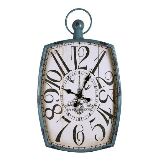 Adeco Distressed Green-Blue Iron Vintage-Inspired Pocket Watch Style Wall Hanging Clock Bonbons Fins Home Decor
