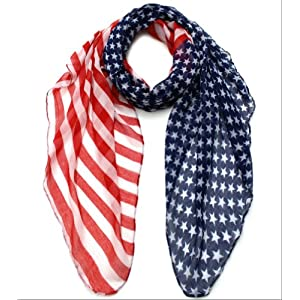 USA Flag Scarf, Patriotic, Red, White and Blue American Flag Scarf (Red-White-Blue)