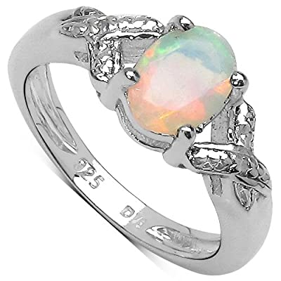 The Opal Ring Collection: Sterling Silver 1.00CT Opal Engagement Ring with Diamond Shoulders