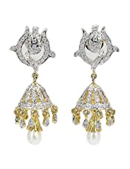 15.60 Grams White Cubic Zircon Gold Plated Earrings