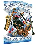 Santoro Interactive 3-D Swing Card, Musical Instrument Greeting Card