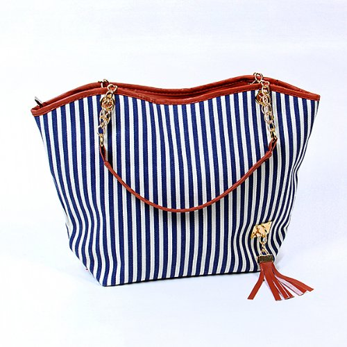 Women Stripe Street Snap Candid Tote Canvas Shoulder Bag
