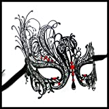 Burlesque-Boutique Black Swan Metal Filigree Laser Cut Venetian Masquerade Mask w/ Rhinestones Red