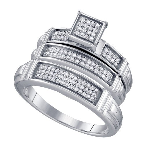 Sterling Silver 1/4 ct. Diamond Trio Engagement Set