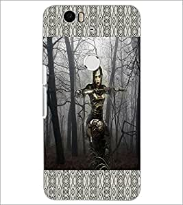 PrintDhaba Armed Girl D-4596 Back Case Cover for HUAWEI NEXUS 6P (Multi-Coloured)