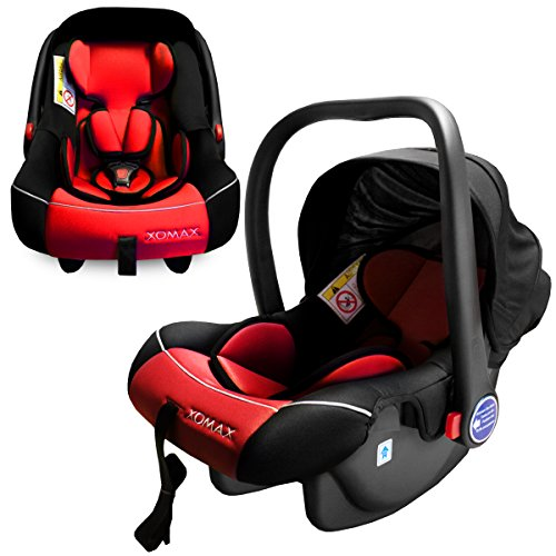 XOMAX XM-B04 RED Babyschale / Autokindersitz / Babyschaukel / Babywippe + Gruppe 0+ (0 - 13 kg / 0 - ca. 18 Monate) + ECE R44/04 geprüft + Farbe: rot / schwarz + Abnehmbares Sonnendach + Bezüge abnehmbar & waschbar + Gepolsterte Innenseite + 3-Punkte-Sicherheitsgurt + Tragegriff verstellbar
