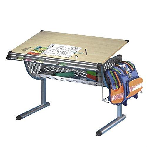 Kinderschreibtisch Schülerschreibtisch Schreibtisch Tisch MARIO, höhen- und neigungsverstellbar, Metallgestell, Arbeitsplatte im buche Dekor günstig
