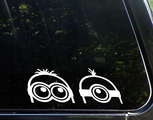 "Peeking Minions (9"" x 3-1/4"") Die Cut Decal Bumper Sticker For WIndows, Cars, Trucks, Etc."