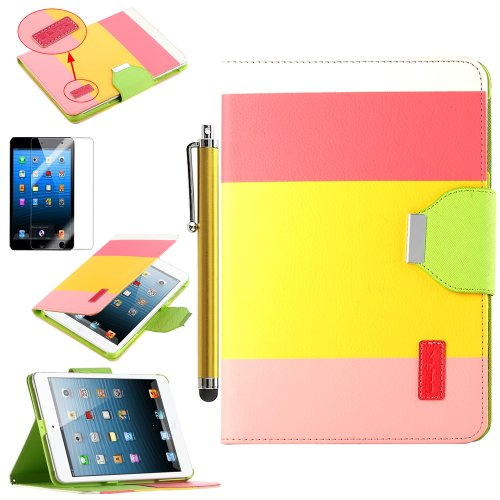 Pandamimi ULAK(TM) Smart Cover Red+Yellow+Pink PU Leather Wallet Type Magnet Design Flip Cute Case for With Apple iPad Mini 7.9 Inch (with Auto Wake/Sleep Smart Cover Function)With Stylus and Screen Protector