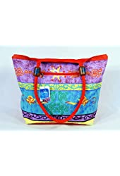 """Waterproof Purple Blue Design on front side and Solid red on flip side Canvas Beach Bag Zipper Closure with Wood Balls 21 X 15 X 6"""""""