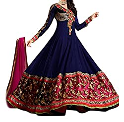INDIA FASHION SHOP BLUE PINK GOLD EMBROIDERED GEORGETTE DRESS
