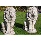 Pair of stone lions statues garden ornaments