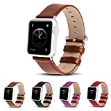 Apple Watch Bands,Fullmosa Lichi Calf Leather Strap Replacement Band with Stainless Metal Clasp for iWatch Series1 Series2,Brown 42mm