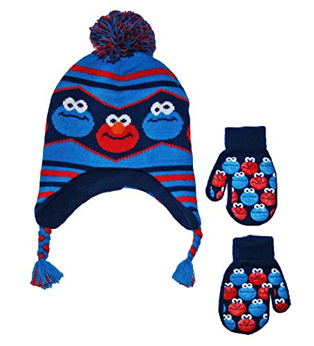 Sesame Street Baby Little Boys Toddler Winter Hat and Mitten Set