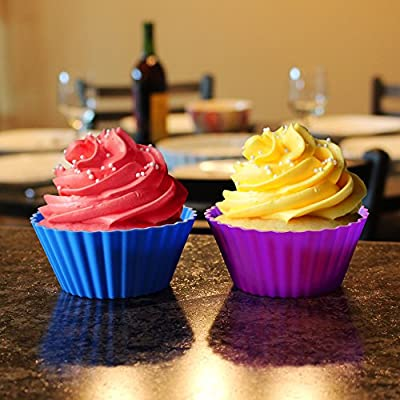 "Lovit Scientific Silicone Muffin & Cupcake Liners - Set of 12 Nonstick Baking Cups in Assorted Colors Jumbo 3-5/8"" Size"