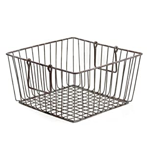 Shabby Chic Large Square Wire Basket with Handles